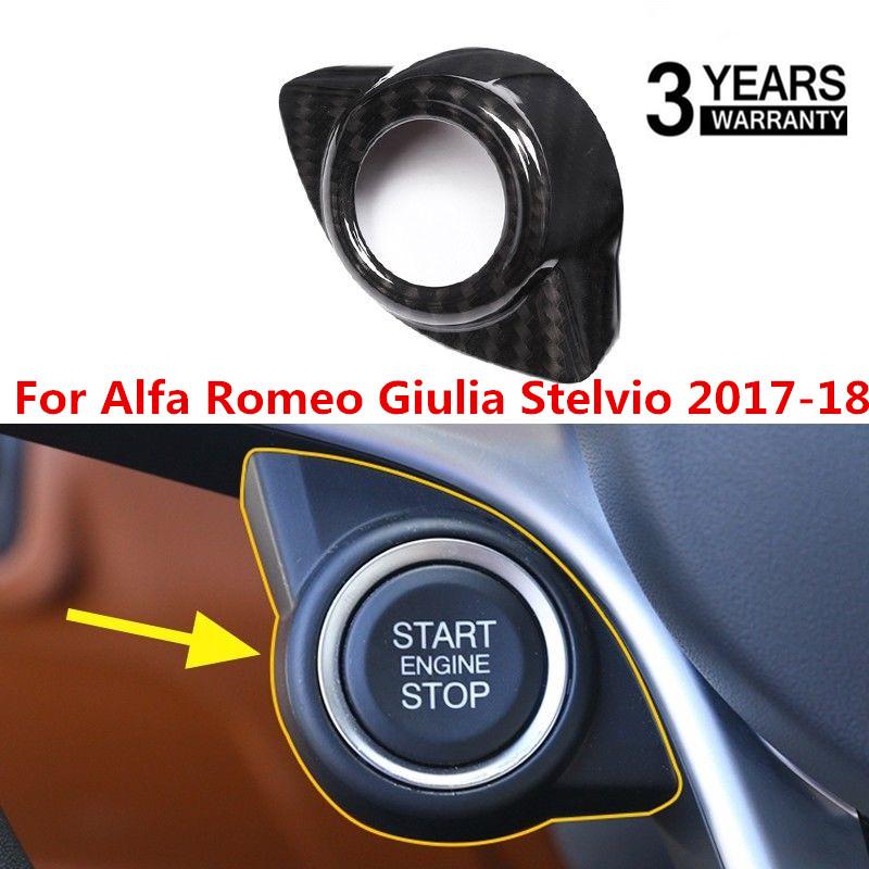 For Alfa Romeo Giulia Stelvio 2017-18 Carbon Fiber Start Engine Stop Cover Trim