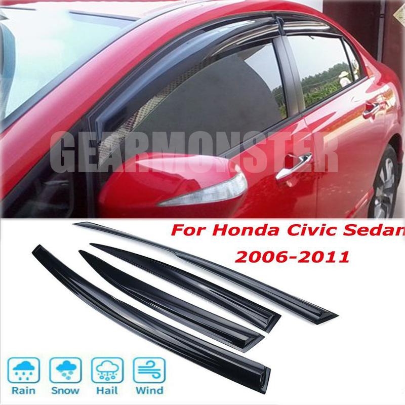 4PC Smoke Window Vent Visor Sun Rain Wind Guards For 2006-2011 Honda Civic Sedan
