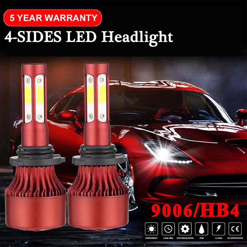 2X CREE 9005 4-Sides LED Headlight Kit 1800W 270000LM Hi-Lo Beam Bulb 6000K Car