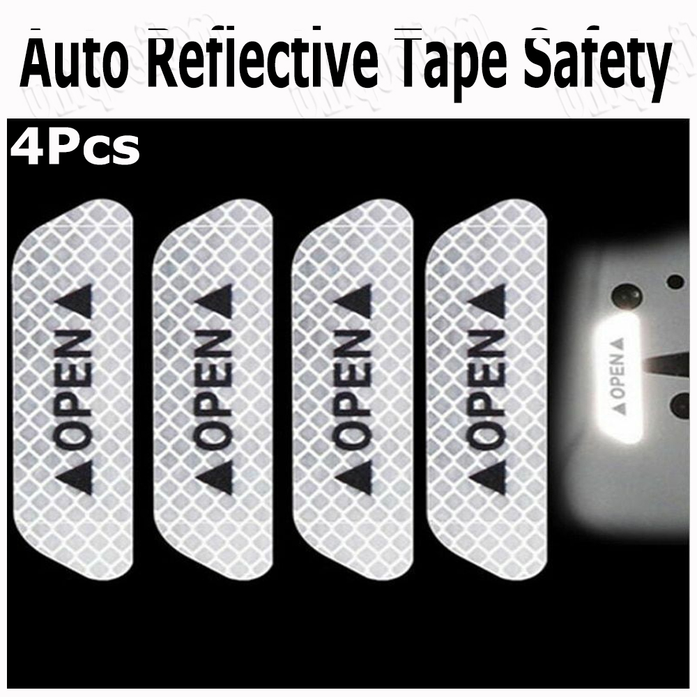 4x Car Open Sticker Reflective Tape Warning Safety Auto Decal Door Sticker White