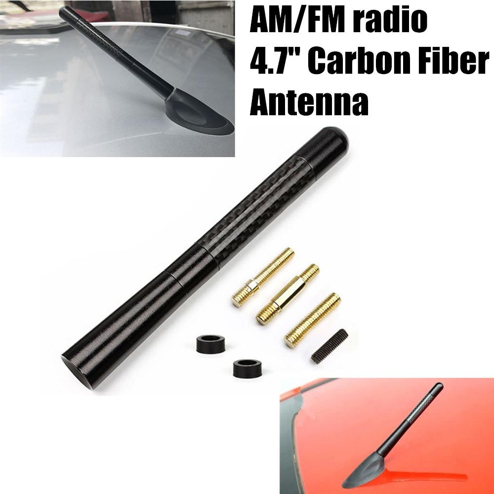 Antena universal Coche Radio fibra de carbono FM Antena Kit negro tornillo