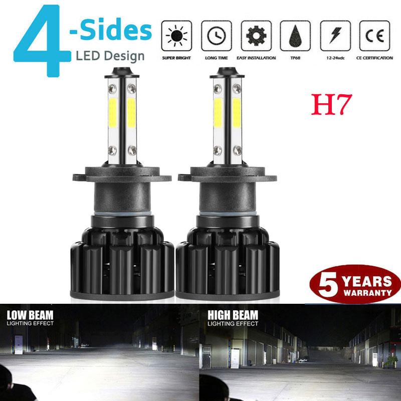 4-sides H7 CREE LED Headlight Kit 2000W 300000LM Hi//lo Beam Bulbs 6000K White 2X