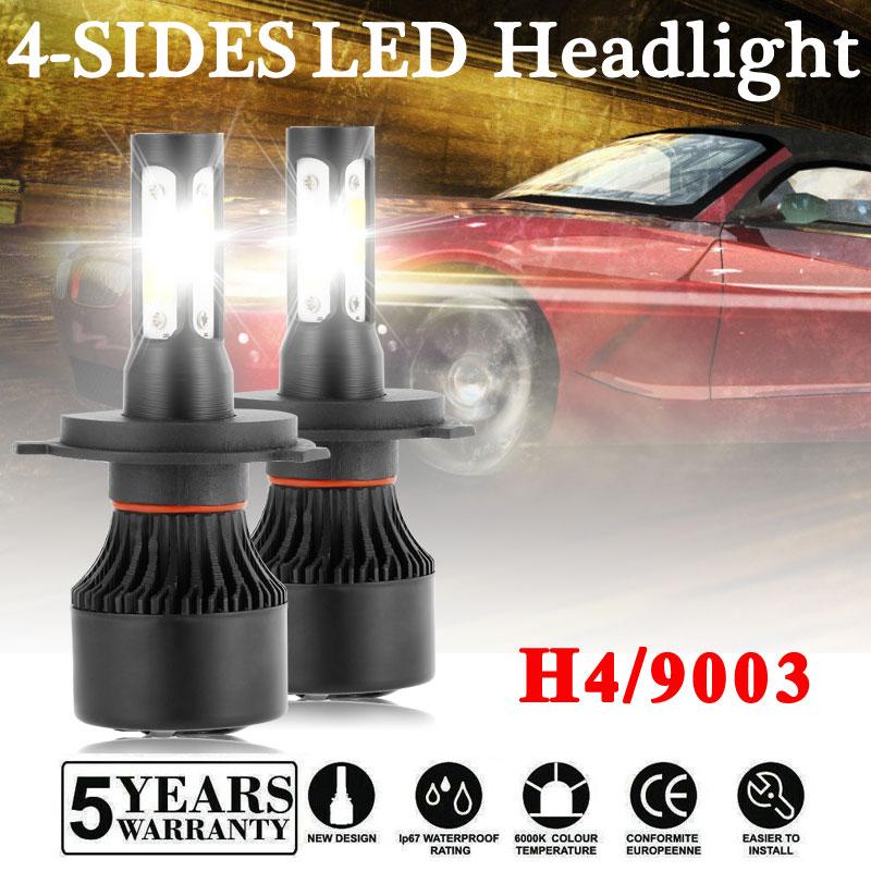 CREE H4 HB2 9003 4Sides LED Auto Motorcycle Headlight Kit Hi//Lo Power Bulb 6000K