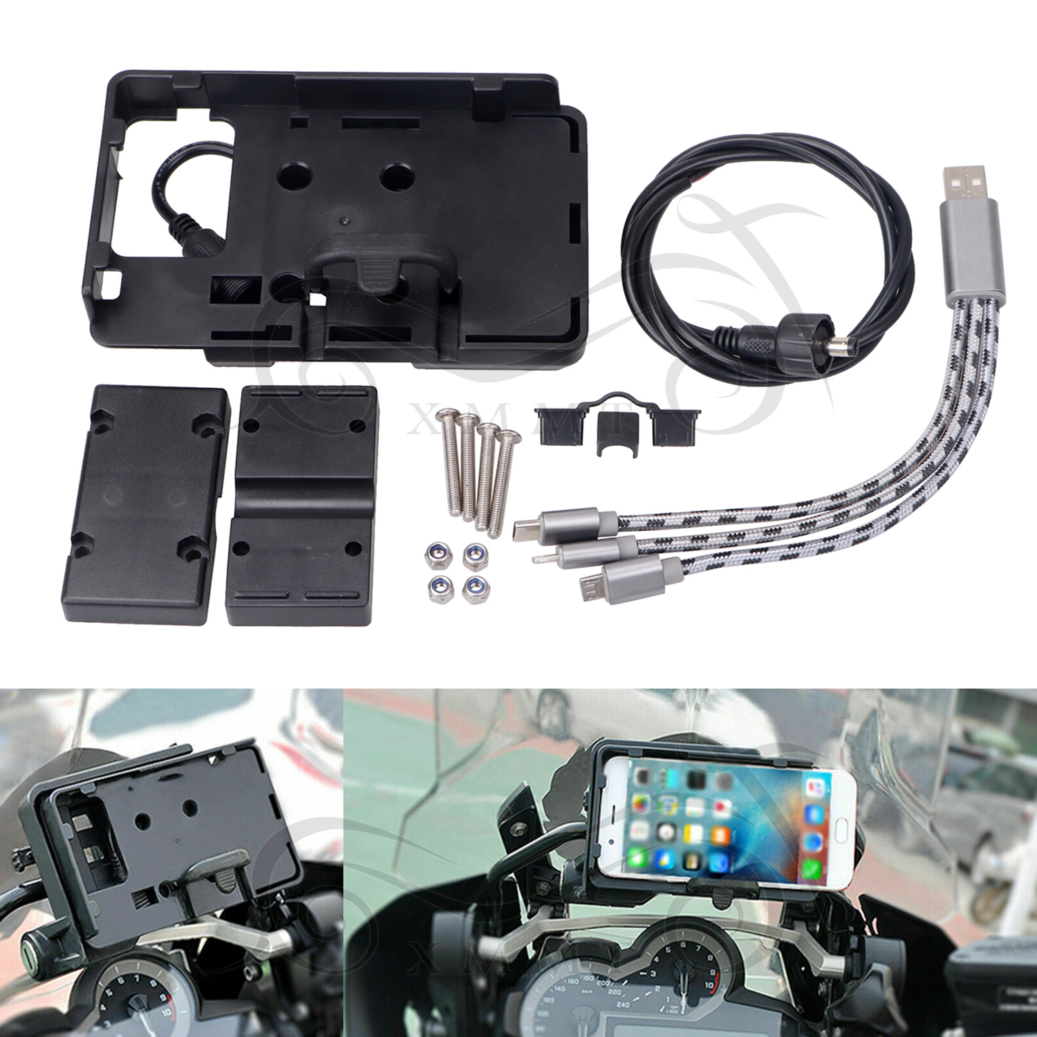 1x Motorcycle USB Charger Phone Bracket Holder Mirror Mount Clamp Bar Clip Mount
