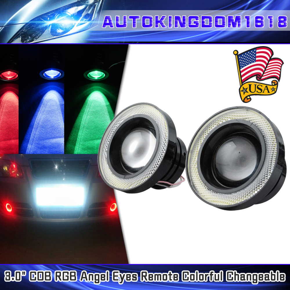 """2x 3.5/"""" RGB MultiColor Projector LED Fog Light with Red Angel Eyes Halo Ring 12V"""