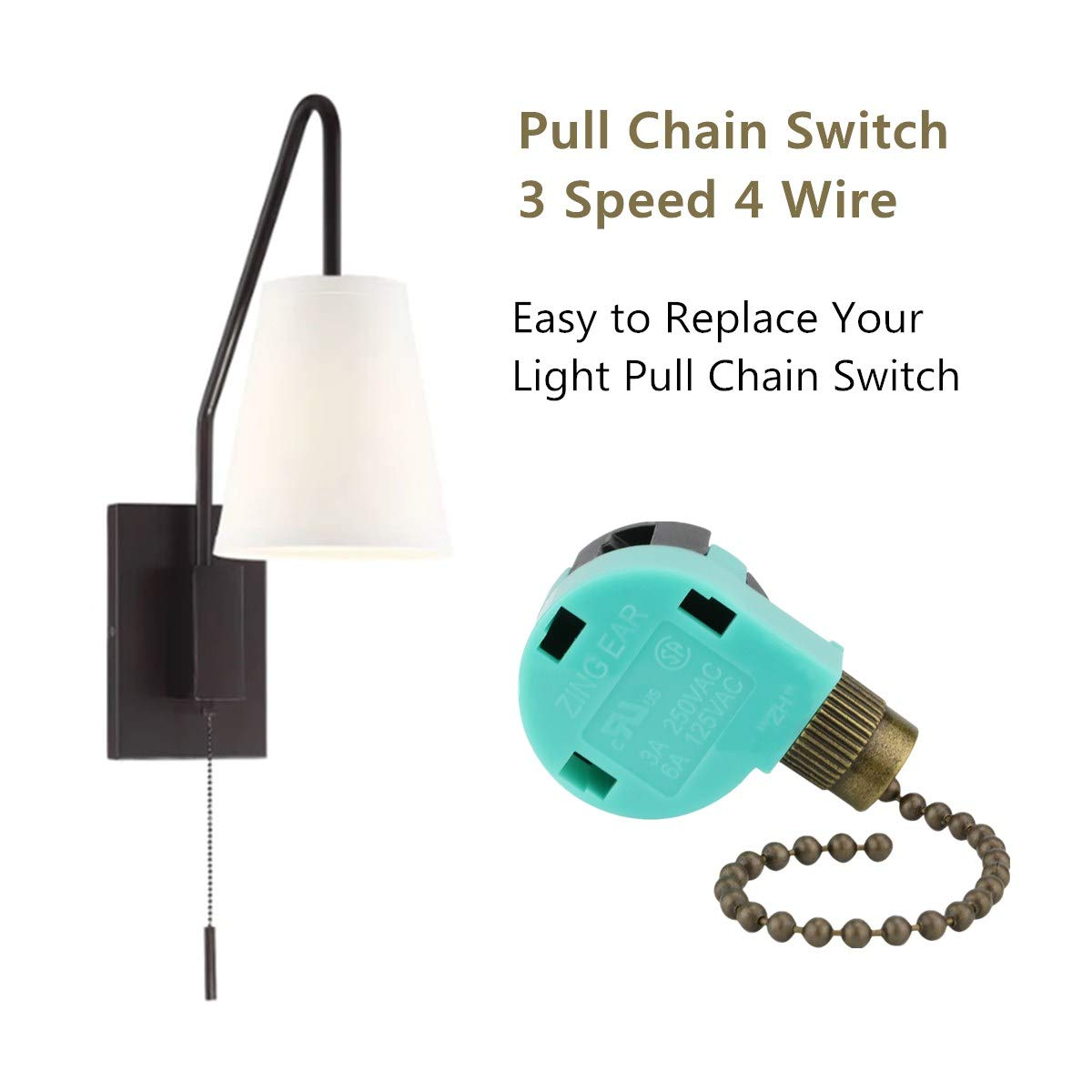 3 Speed 4 Wire Ceiling Fan Switch For Hunter Harbor Breeze