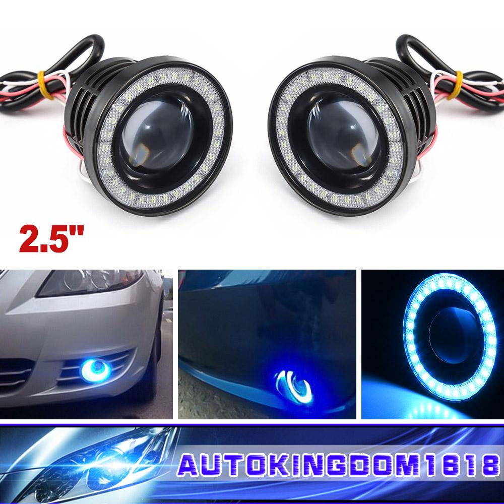 Ice Blue Car Fog Light LED Projector COB Halo Angel Eye Ring DRL Driving Bulbs