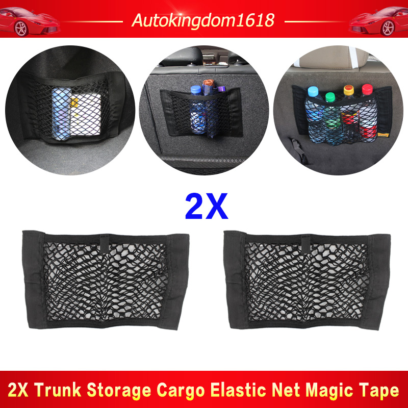 HTCECOM 2 Pack Universal Car Mesh Cargo Net Pocket Vehicle Trunk Back Seat Mesh Organizer with 4 Extra Strong Magic Wall Sticker Flexible Nylon Luggage Storage Bag Pouch Holder for Car SUV /& House
