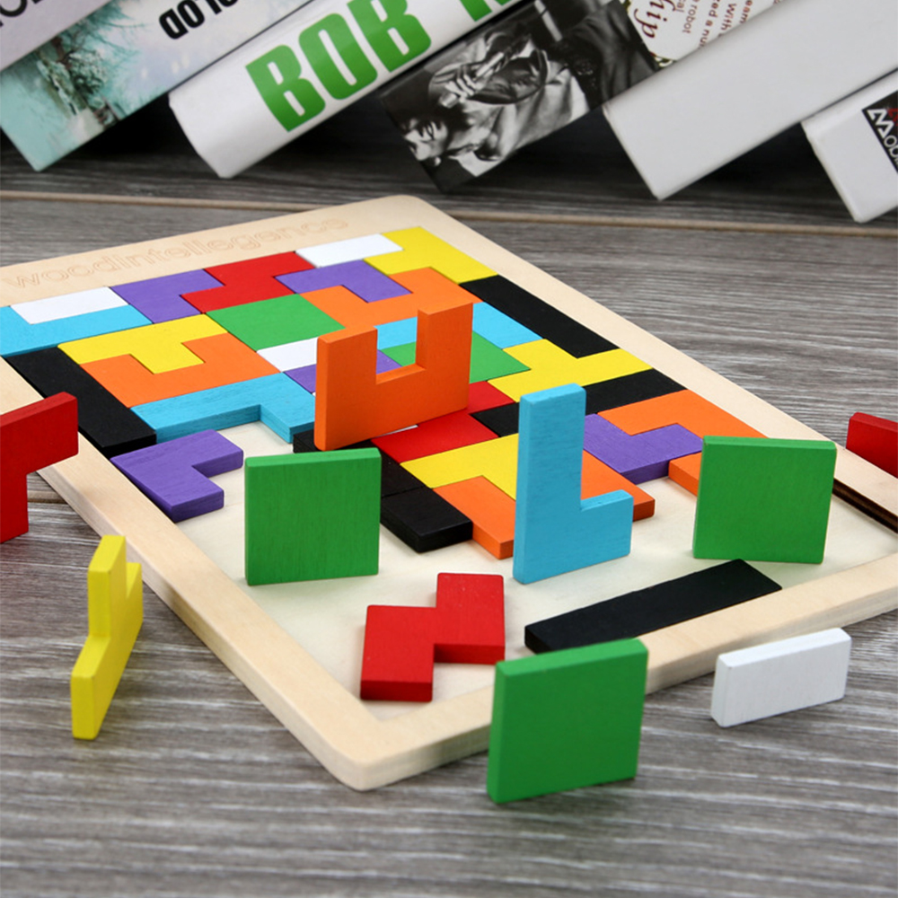 Kids Baby Montessori Wooden Geometry Puzzle Learning Educational Toys BL