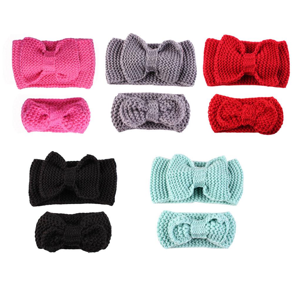 2er Mama Baby Mädchen Kinder Häkeln Stirnband Haarband Haar Knit Bow ...
