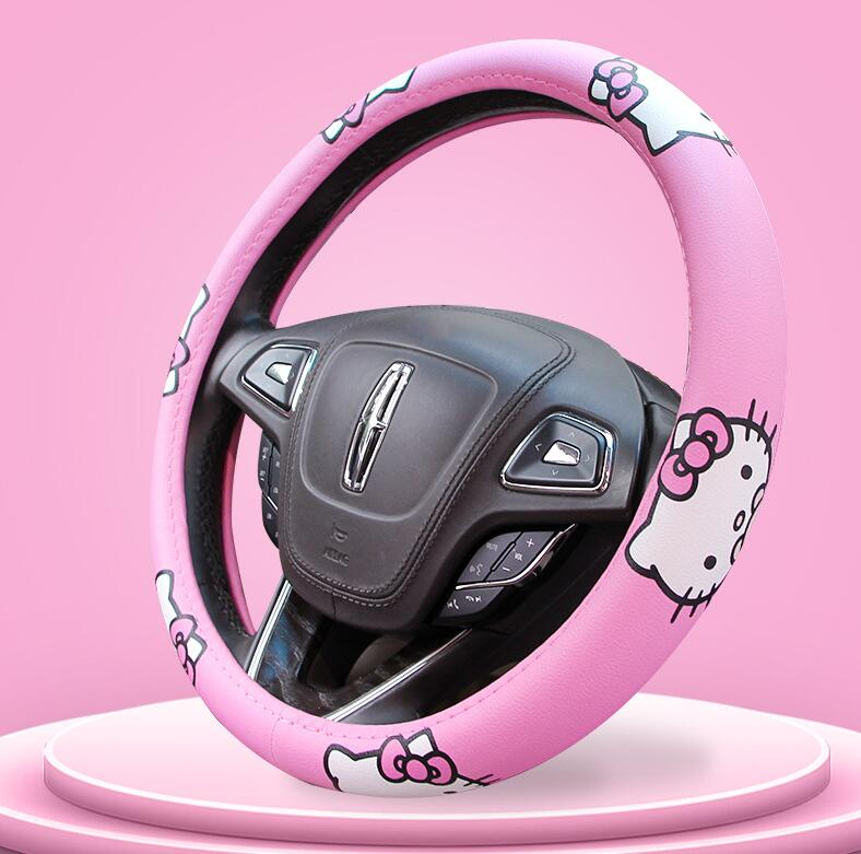VRGT Car Steering Wheel Cover,Cute My Melody Hello Kitty Design Steering Wheels Covers,Elastic Breathable Anti-Slip Odorless Covers Protector for Auto Truck SUV 15 inch