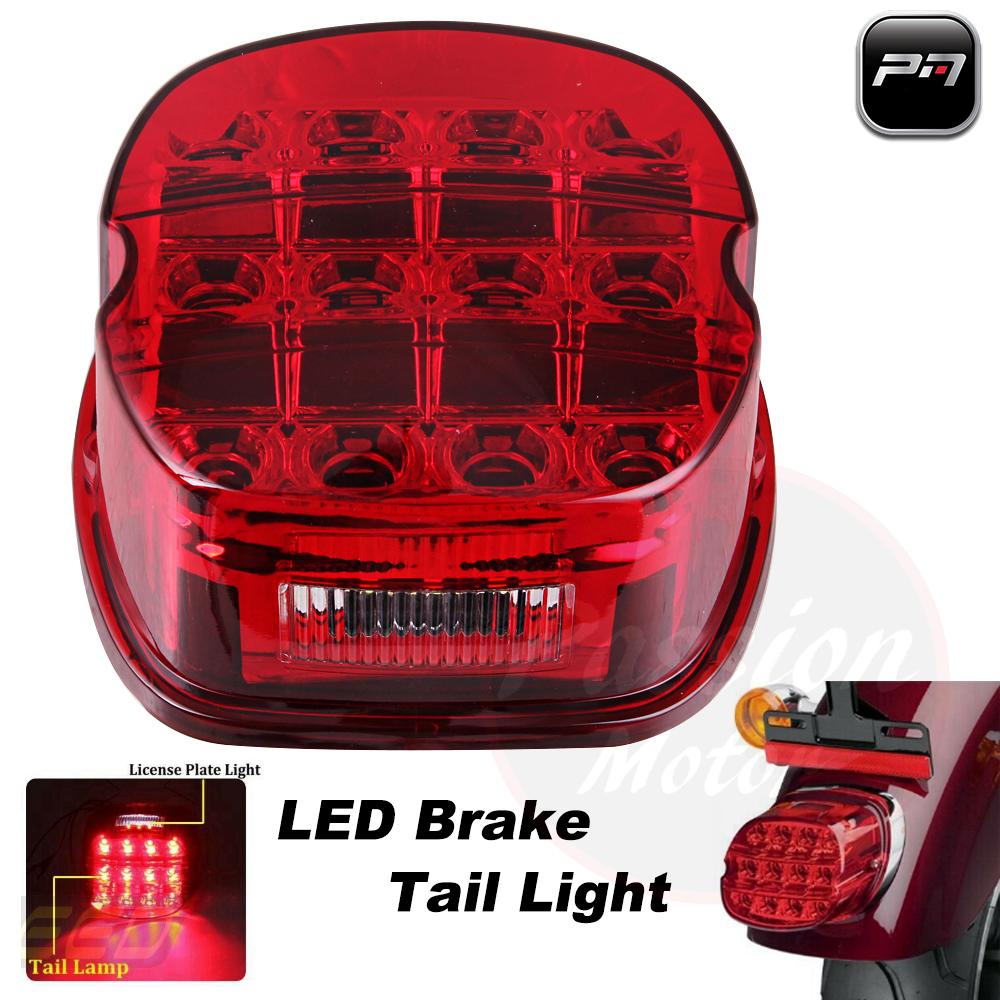 Red Lens Led Tail Light Brake For Harley Touring Road King Glide Dyna Sportster