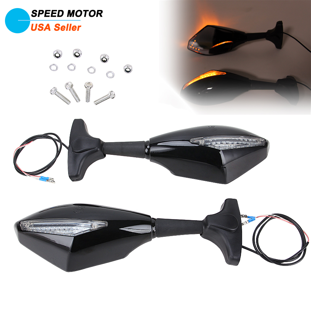 Motorcycle Led Indicator Rearview Mirrors For Kawasaki Ninja 250r 650r 500r Zx6r
