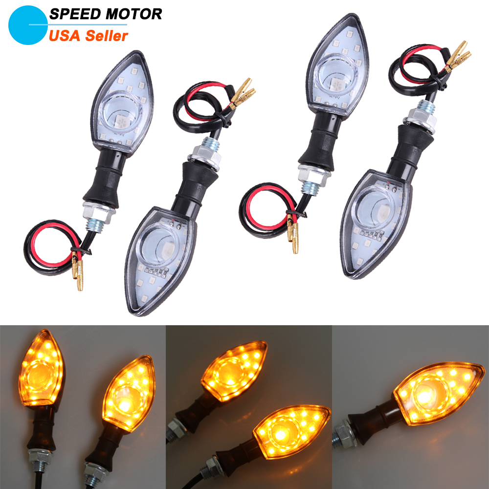 4x Universal Motorcycle Bike Skull Turn Signals Amber Light Indicator Blinkers