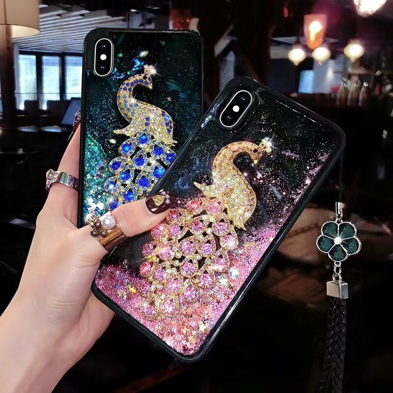 Details about Dynamic Liquid Glitter peacock Quicksand Soft back Case Cover  For OPPO