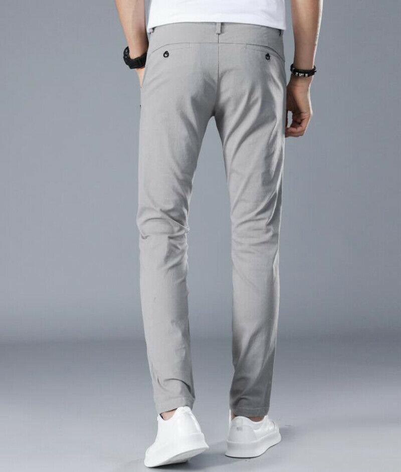Men/'s Slim Fit Skinny Pencil Pant Formal Suit Dress Pants Work Casual Trousers