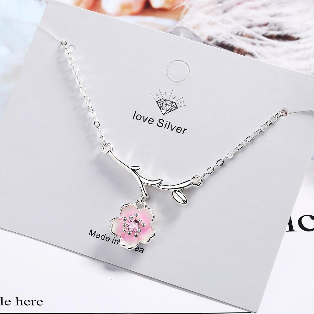 925 Silver Charm Cherry Blossoms Flower Pendants /& Necklaces Wedding Necklace