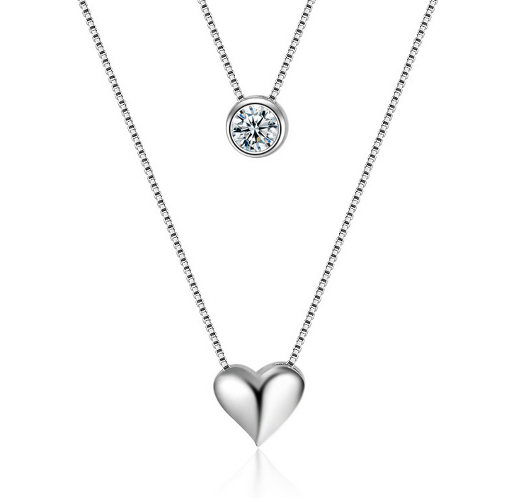 Crystal Diamond Pendant Necklace 925 Sterling Silver Womens Jewellery Gift