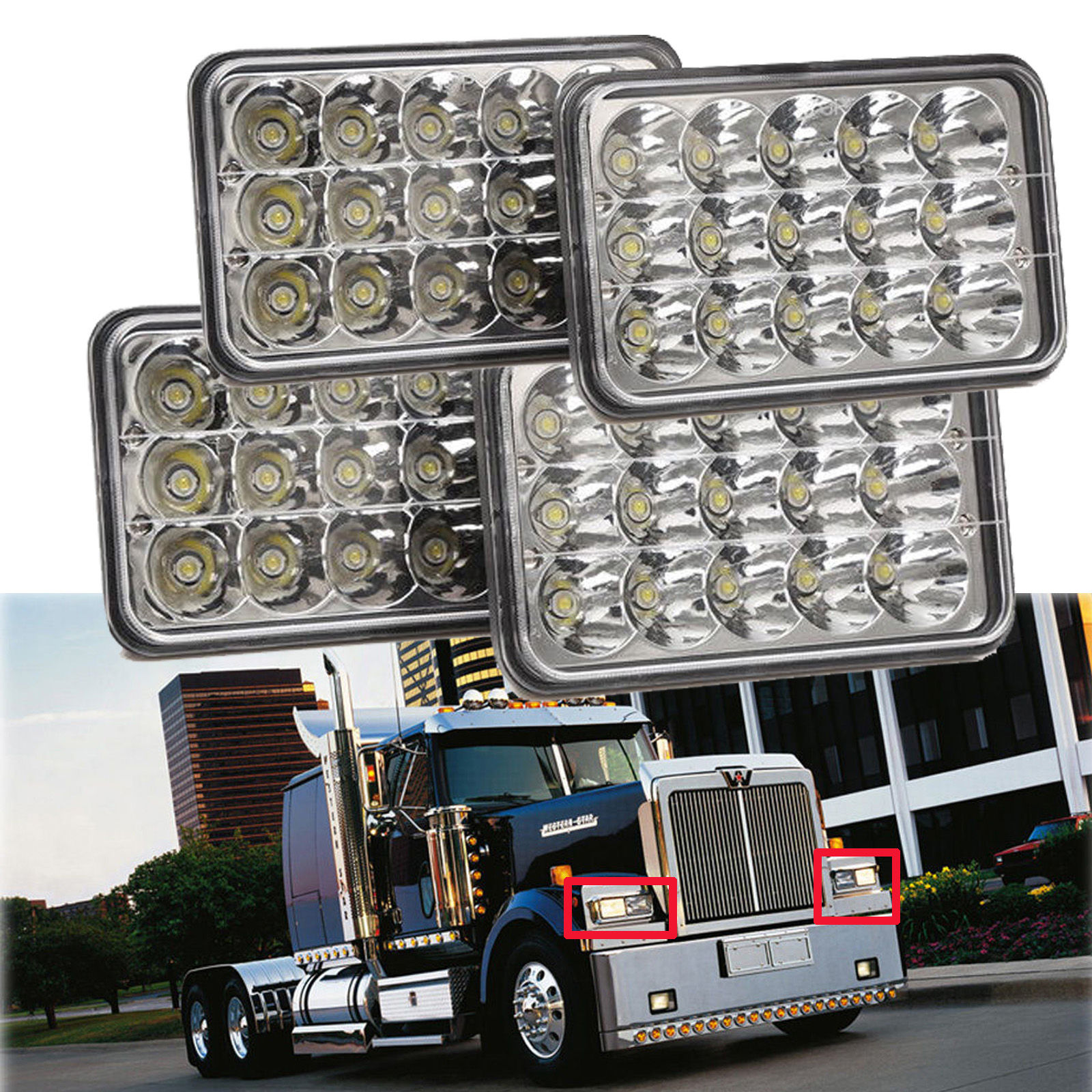 Western Star 4900 >> Details About For Western Star 4900 Semi Truck Peterbilte 357 378 4 X6 Led H L Headlight Lamp