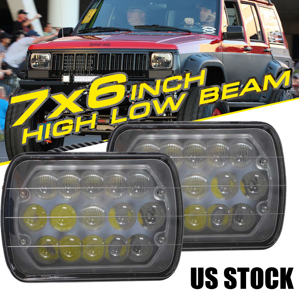 """Square 7x6/"""" inch LED Headlights Chrome Crystal Sealed Hi-Lo Beam Lamps Assembly"""