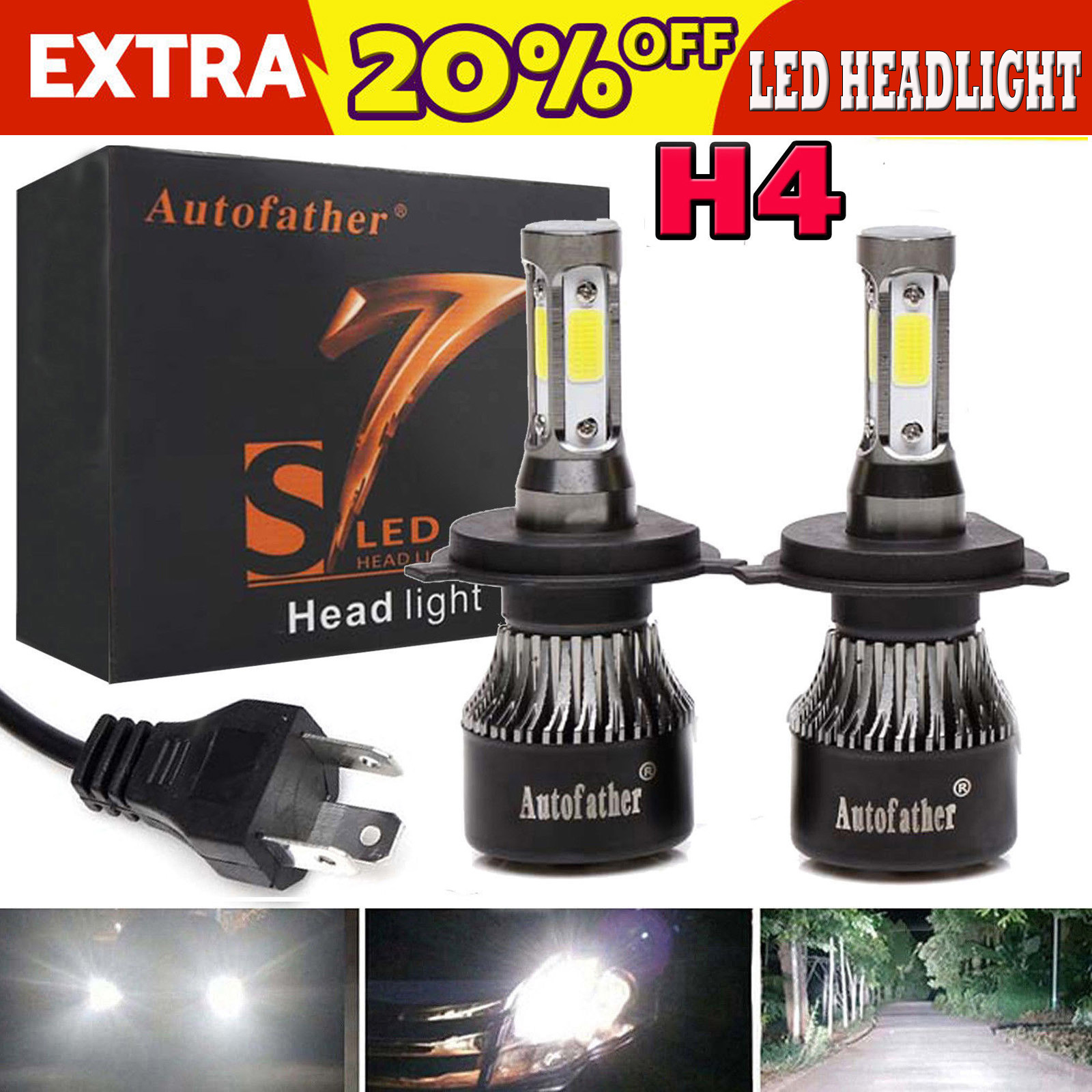9003 H4 LED Headlight Bulb for Toyota 4Runner Tacoma Sienna Tundra RAV4 Corolla