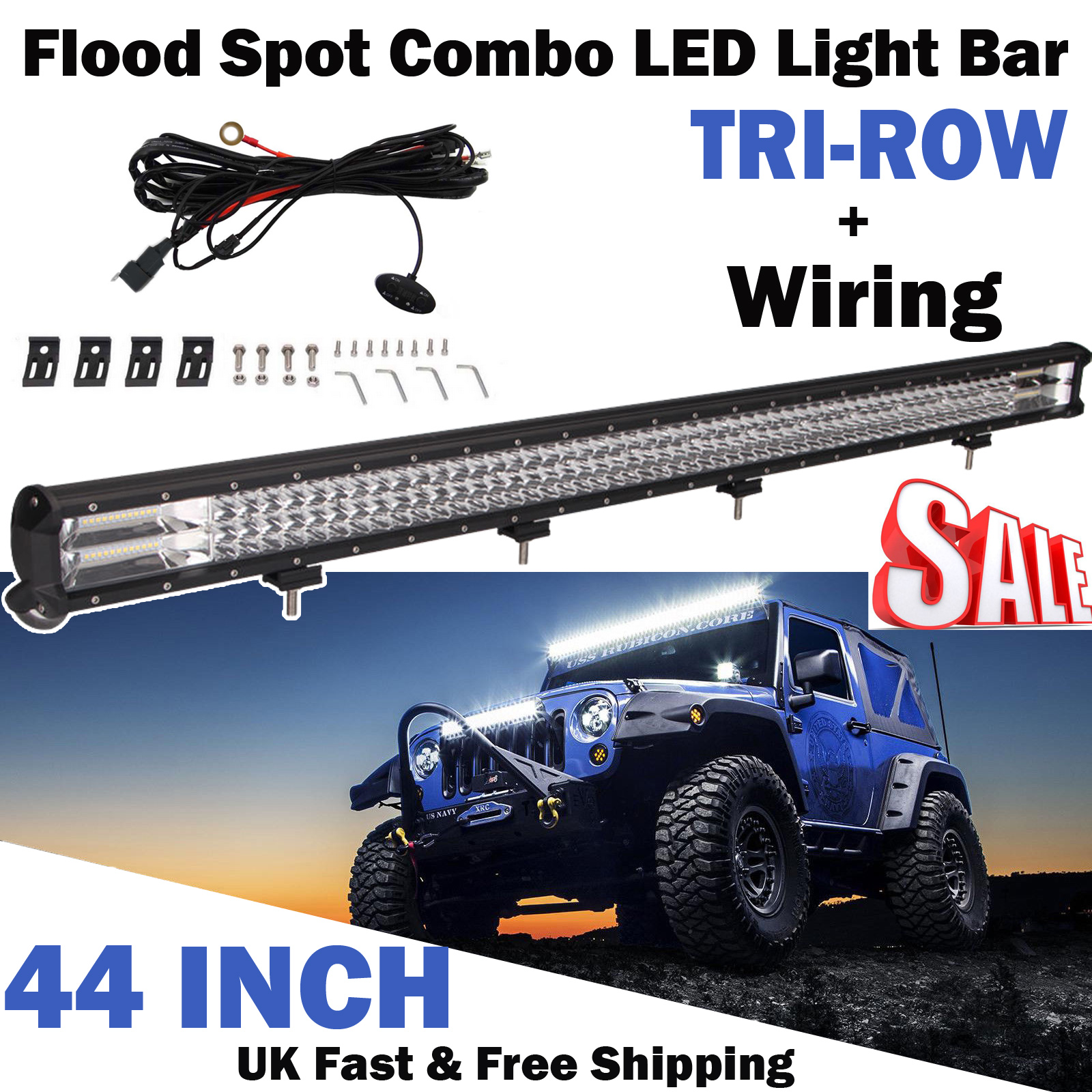 62727f124b Details about 44Inch 2280W LED Work Light Bar Spot Flood Combo For Off-Road  Driving 4x4+Wiring