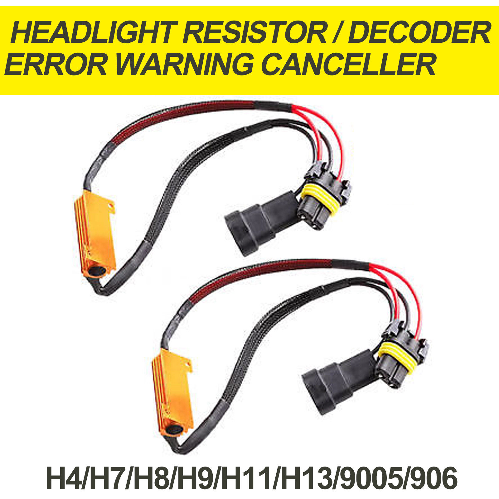 LED Foglight Headlight Load Resistor Flicker Decoder Warning Canceler H4 H7 9006