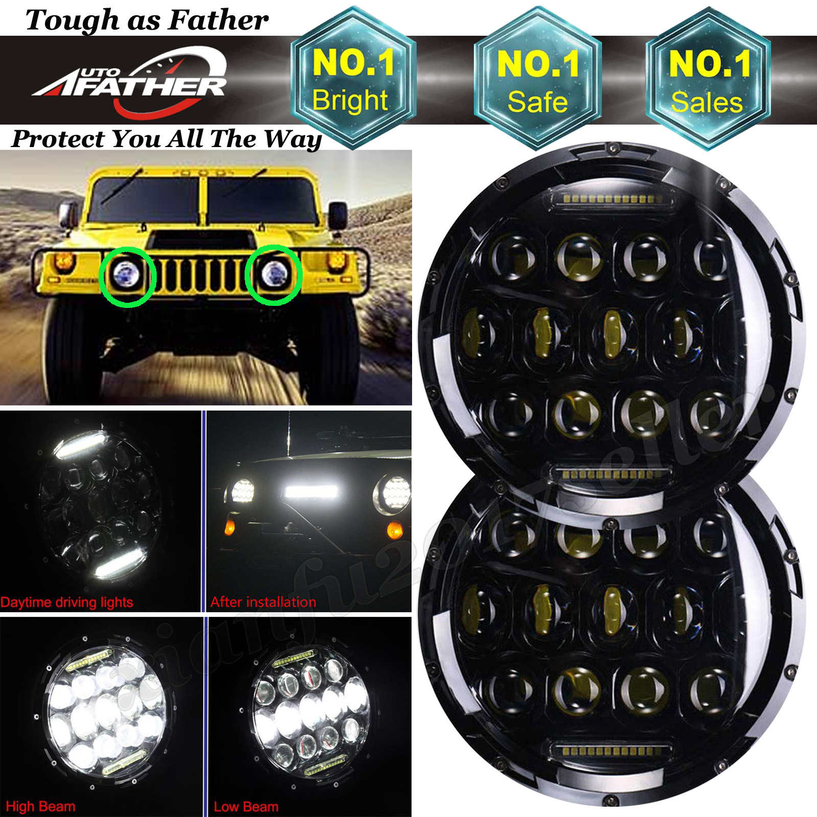 For AM General Hummer / Hummer H1 H2 LED Headlight 7inch 150W DRL Driving  Lamps