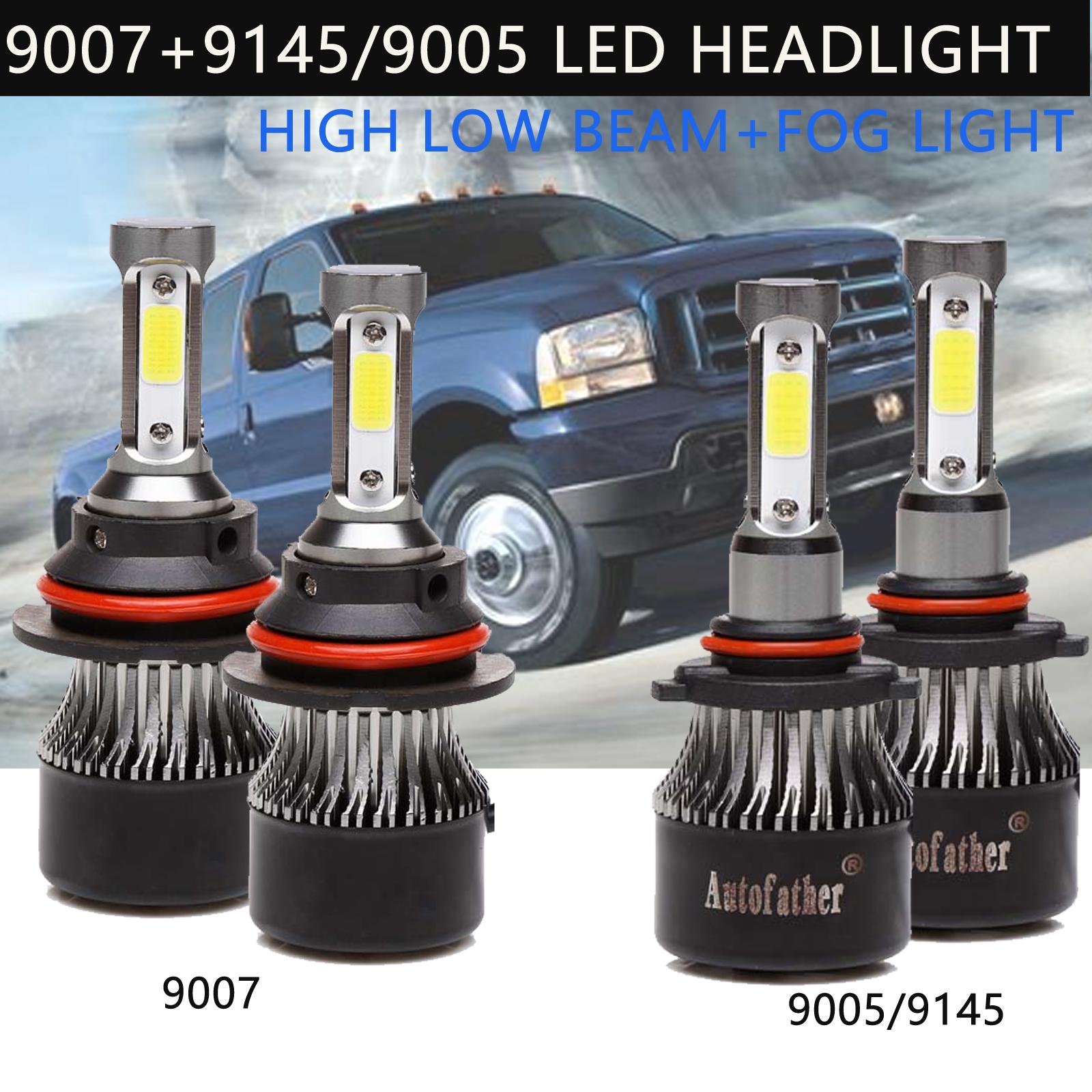 9007 9145 9140 LED Headlight for Ford F-250 F-350 Super Duty 2001-2004 Fog Light