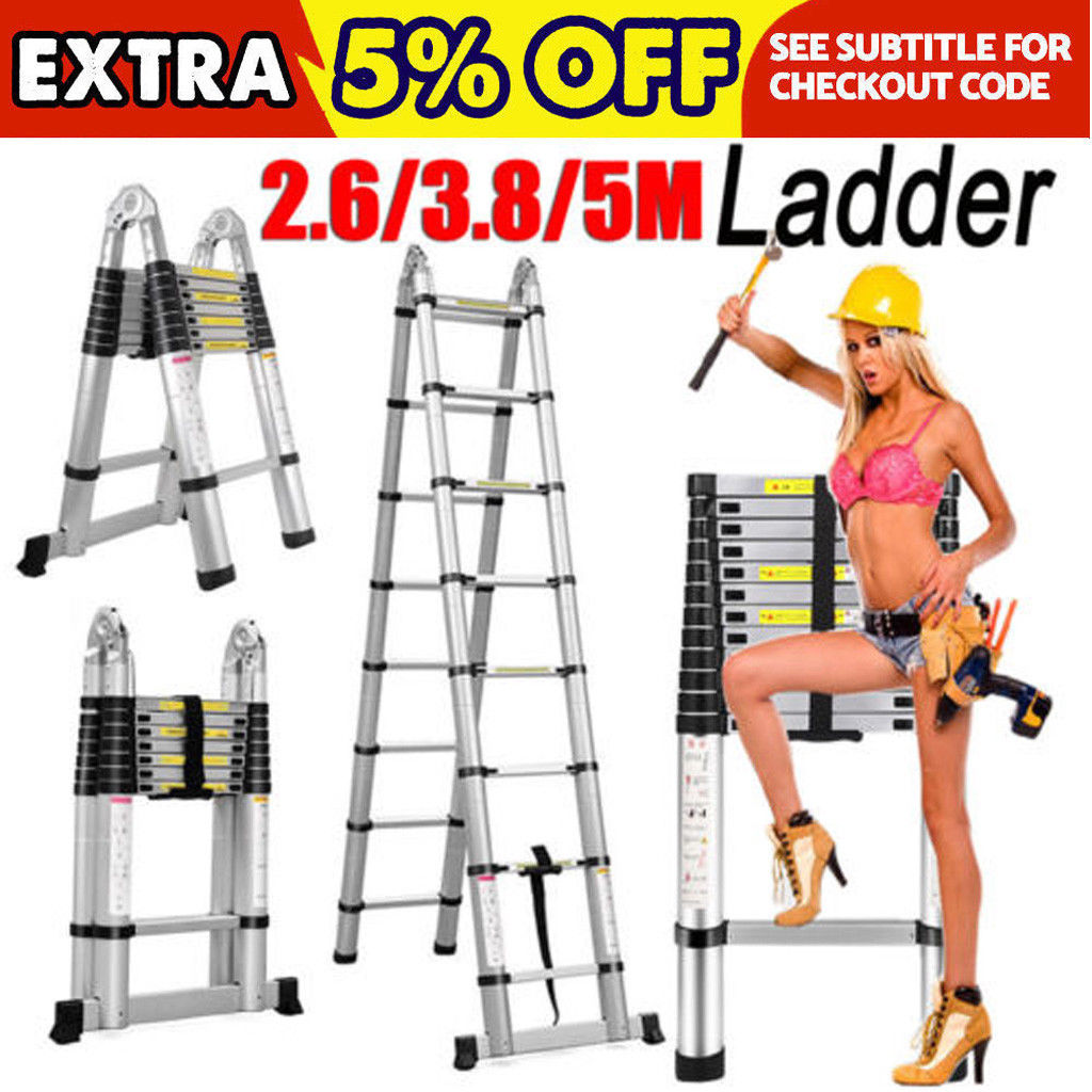 Anti-Slip 330lb 1.9m+1.9m Telescopic Ladder Heavy Duty Aluminum Extendable Ladder A Frame /& Straight Multi-Purpose Ladder Stable Folding Max Load 150kg