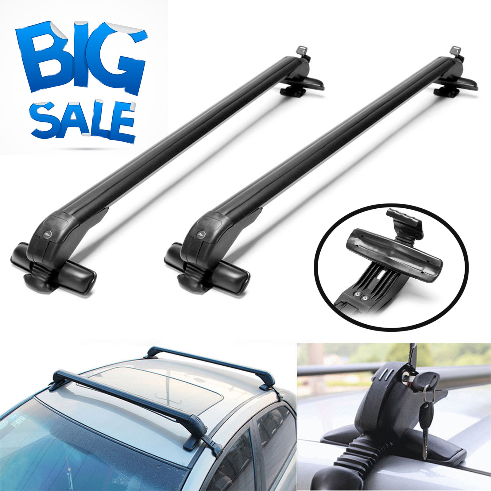Universal Roof Rack Cross Bar Anti-Theft for 4 or 5 Door Car No Rail 43/'/' Newest