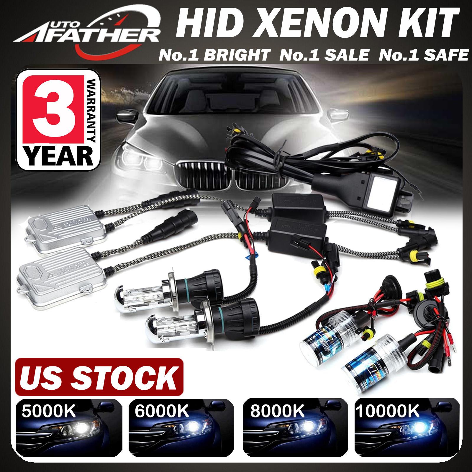 55W HID Xenon Bulbs Headlight Slim Ballast Conversion Kit H1 H3 H4 H7 9006
