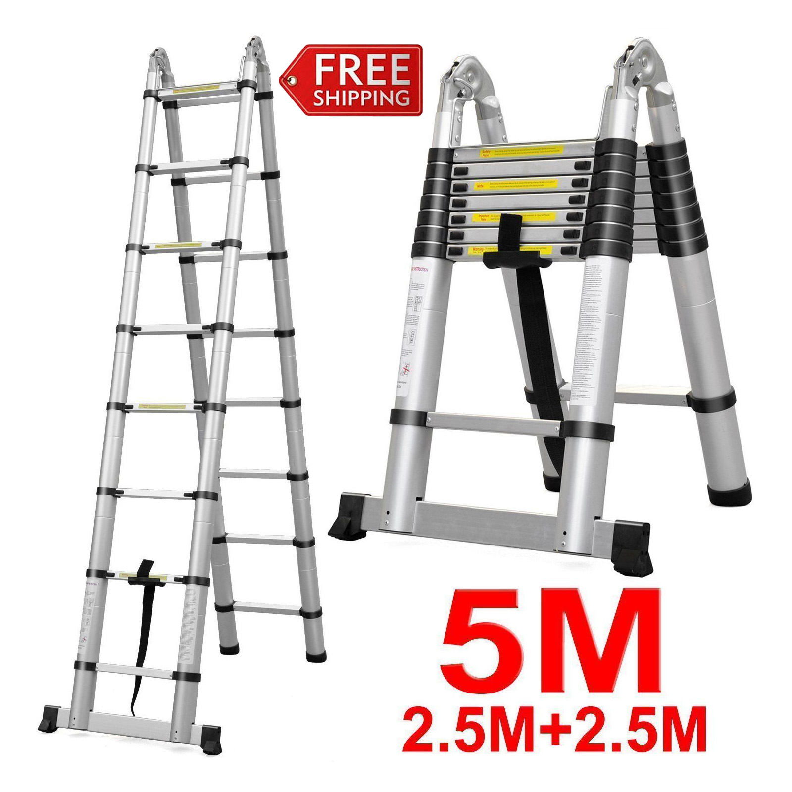 5M 16 Steps A-Frame Ladder Heavy Duty Multi-Purpose Aluminum Folding ...