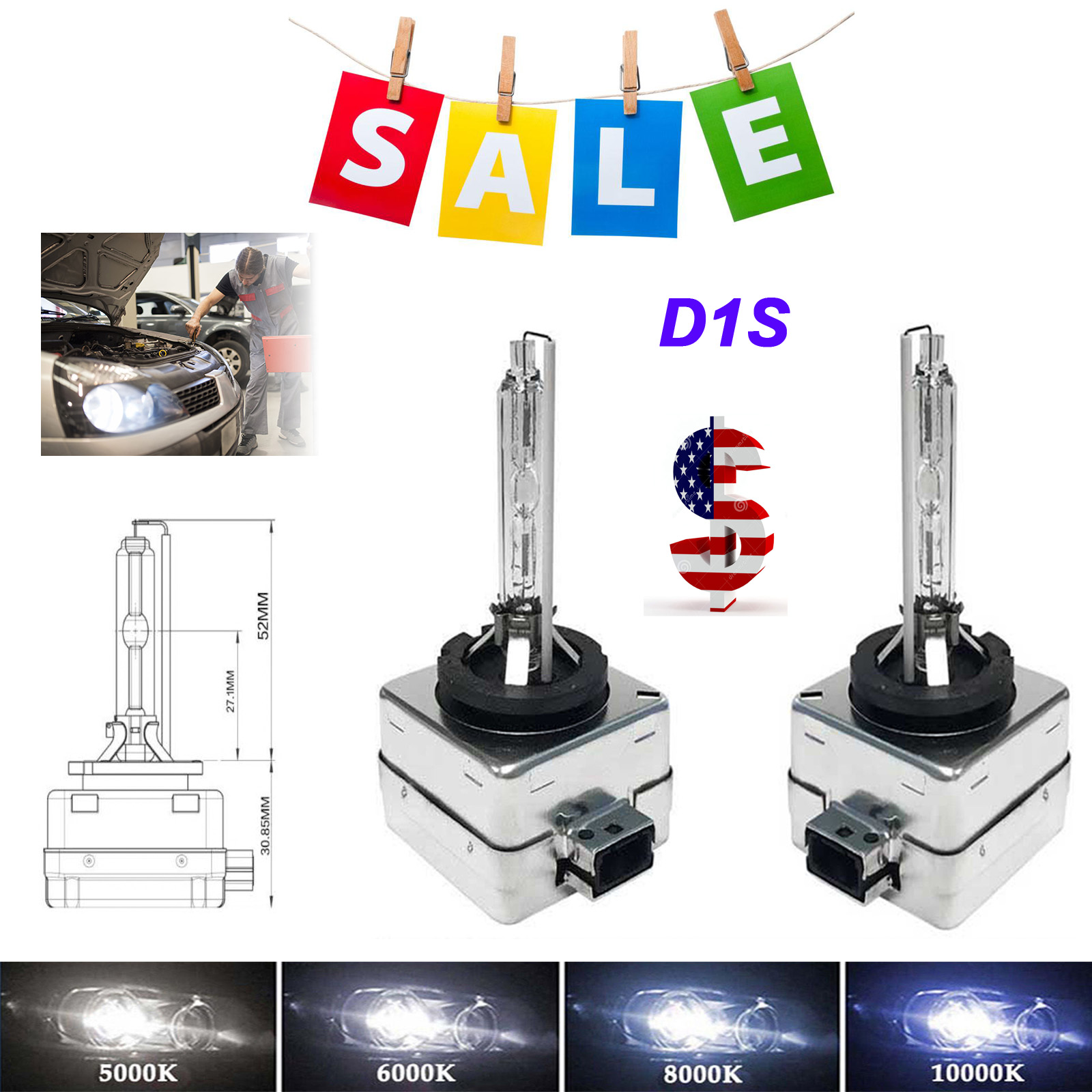 D1S HID Xenon Bulbs For Headlights Replacement 66141 66142 6000K 8000K 35W NEW