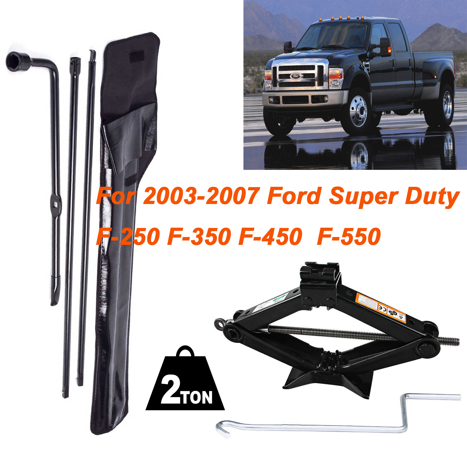Details about Scissor Jack+Truck Spare Tire Set Kit Replacement Tool for  Ford F250/350/450/550