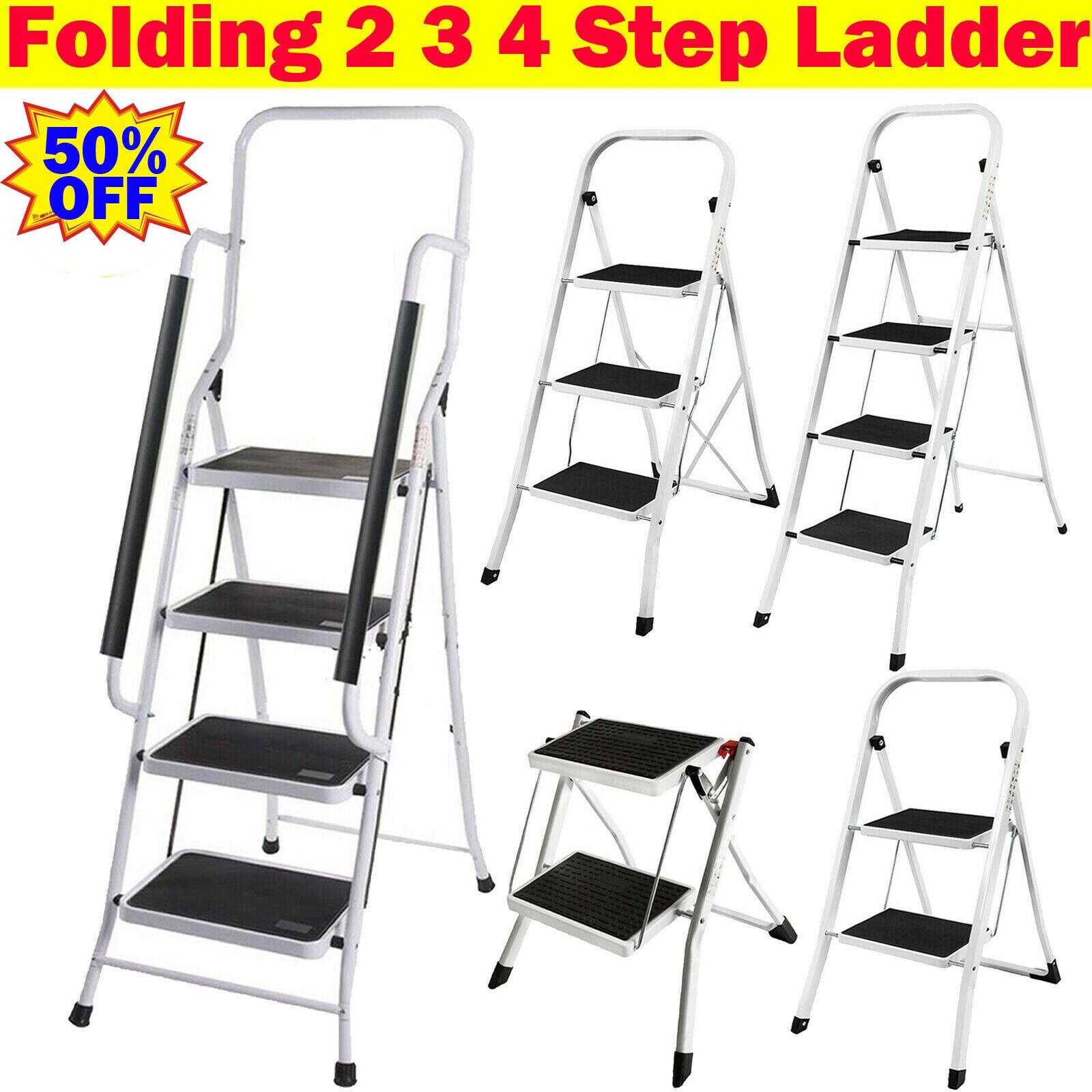Foldable 4 Step Ladder Folding Step ladder Non Slip Tread Safety Steel Step NEW
