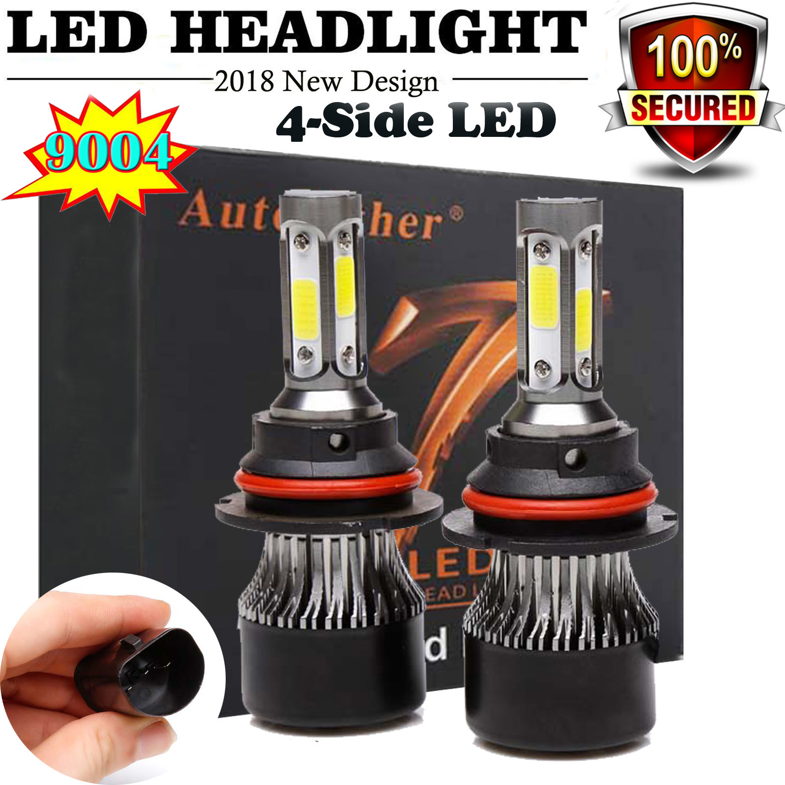 9004 HB1 High Low LED Headlights for Dodge Ram 1500 2500 3500 1994-2001 12000LM