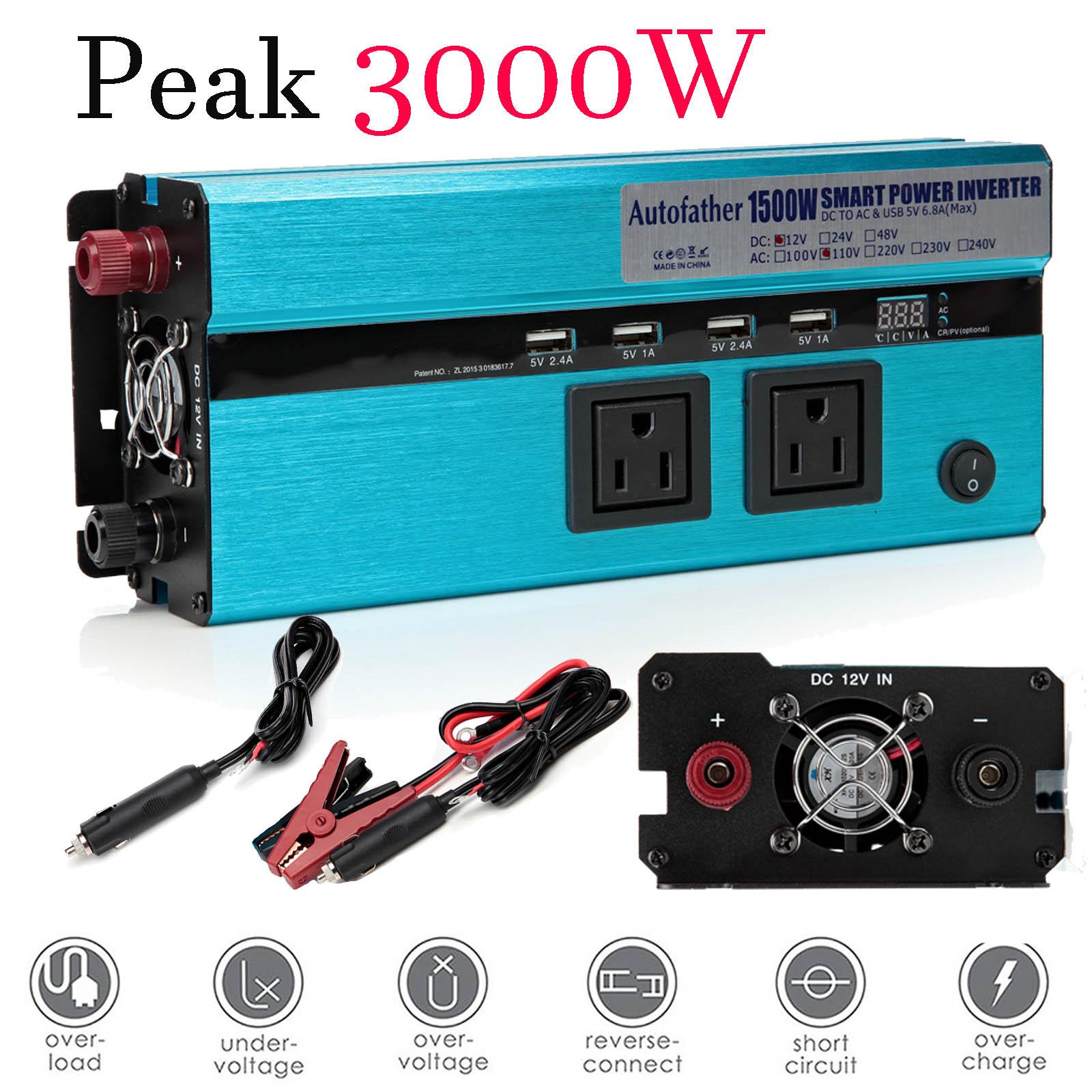 4000W Peak 2000W Power Inverter DC 12V AC 110V Car Converter 4 USB ports Charger