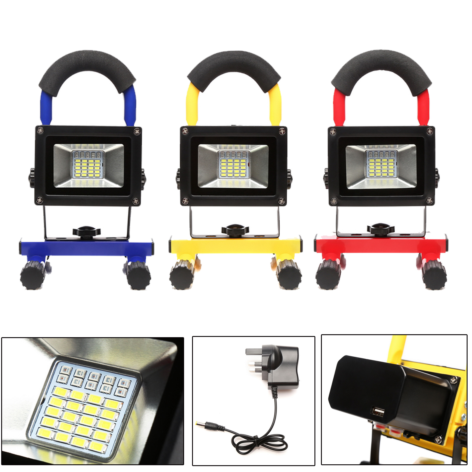 Rechargeable LED Work Site Flood Light Cordless Camping Lamp Car Charger+UK Plug