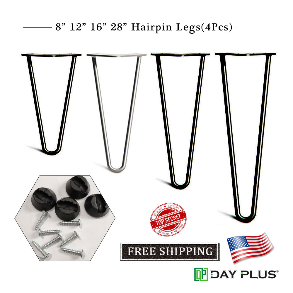 """Hot Coffee Metal Table Desk Hairpin Legs 16/"""" Set of 2 Solid Iron Bar Furniture"""