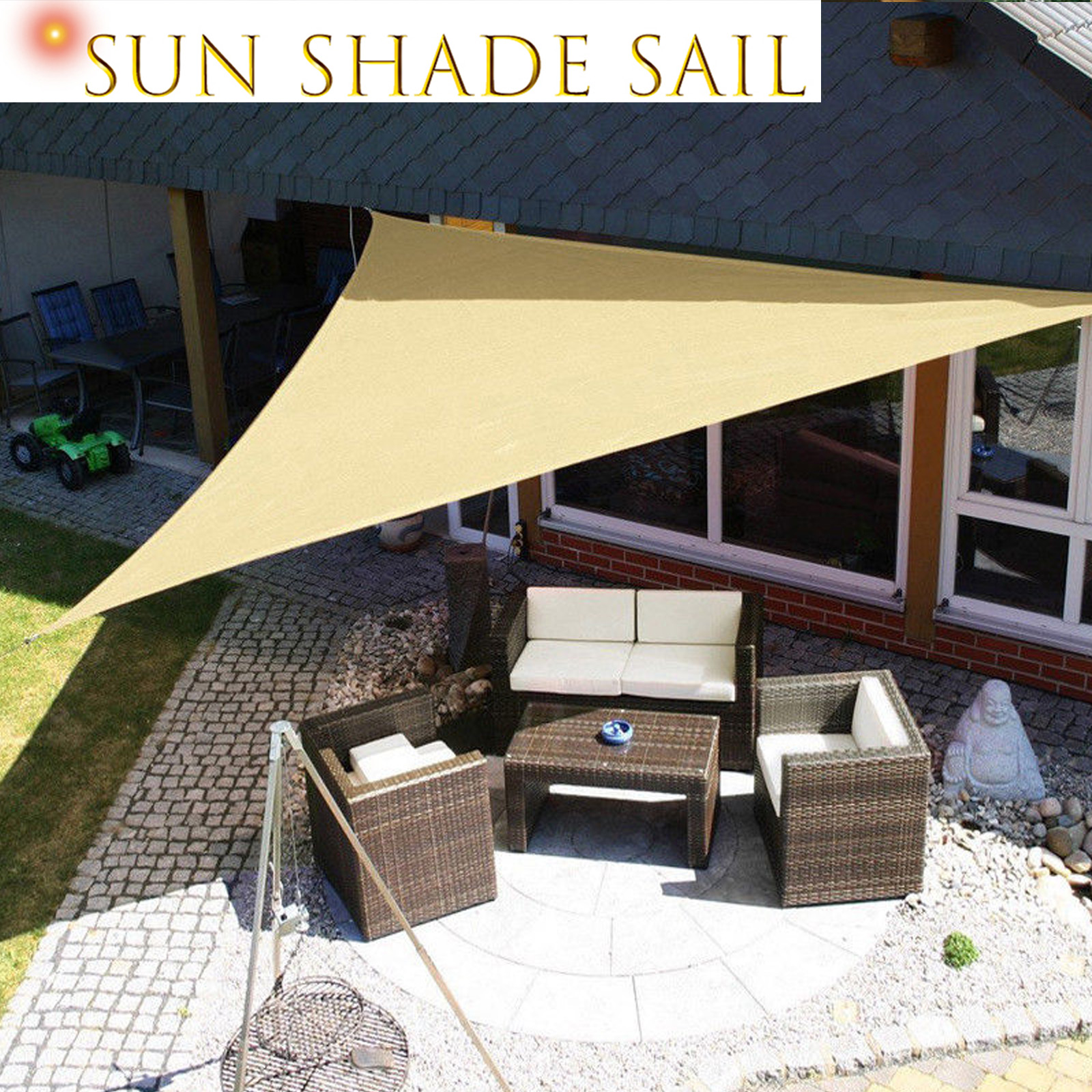 Details About Clic Waterproof Sun Shade Sail Summer Canopy Visor Shelter Garden Triangle 3m