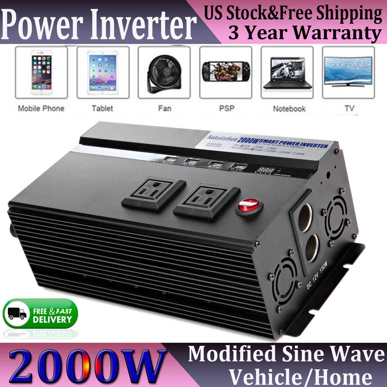 Autofather 2000//4000 Watt Power Inverter DC 12V AC 110V Car Converter 4 USB Port