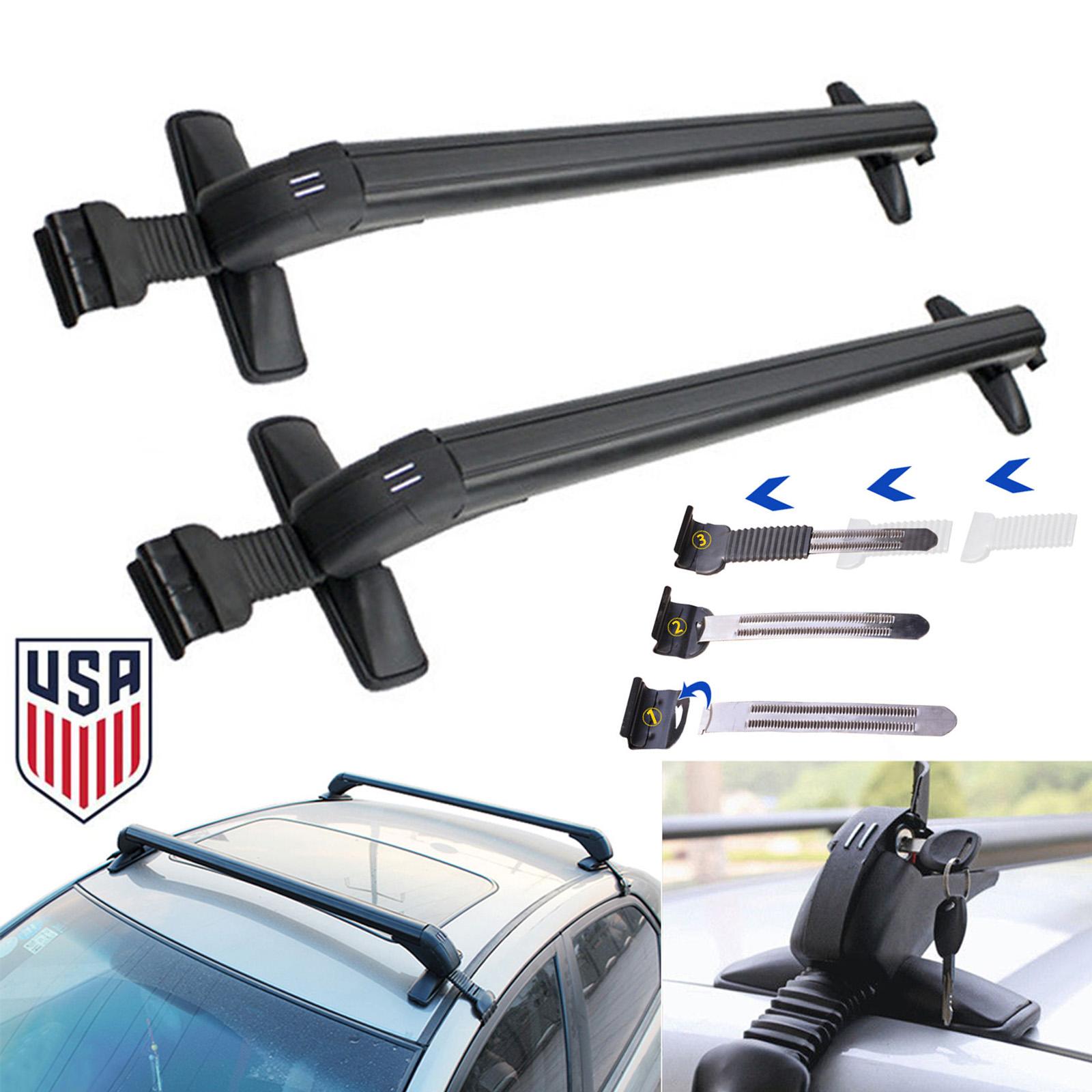 Universal Cars Black Anti Theft Car Roof Bars Without Rails Lockable Rack  Box 2x