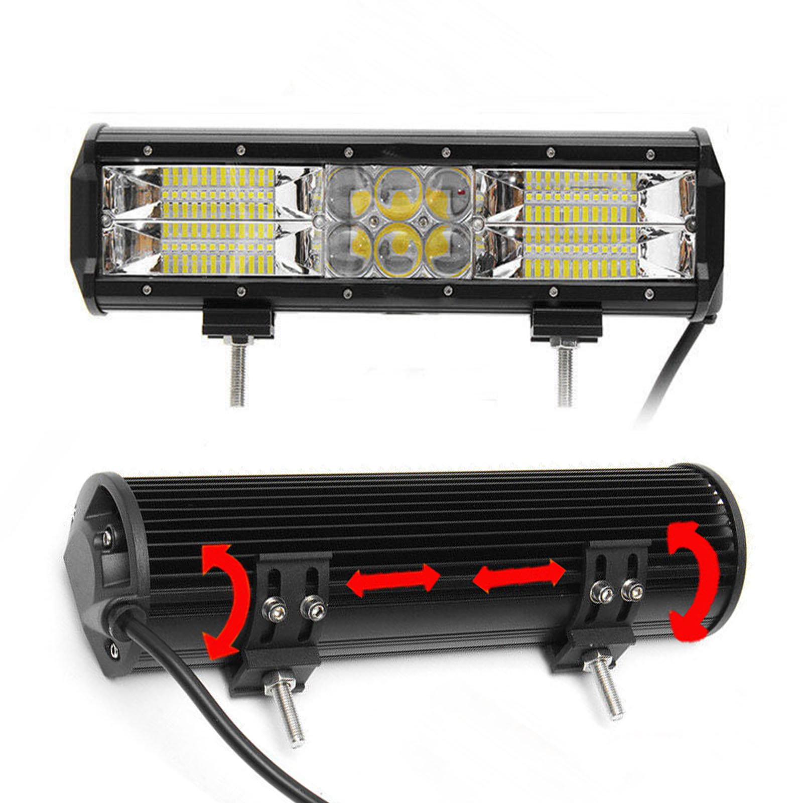 12inch 5D 240W Osram LED Work Light Bar Flood Spot Combo Offroad Truck SUV Lamp