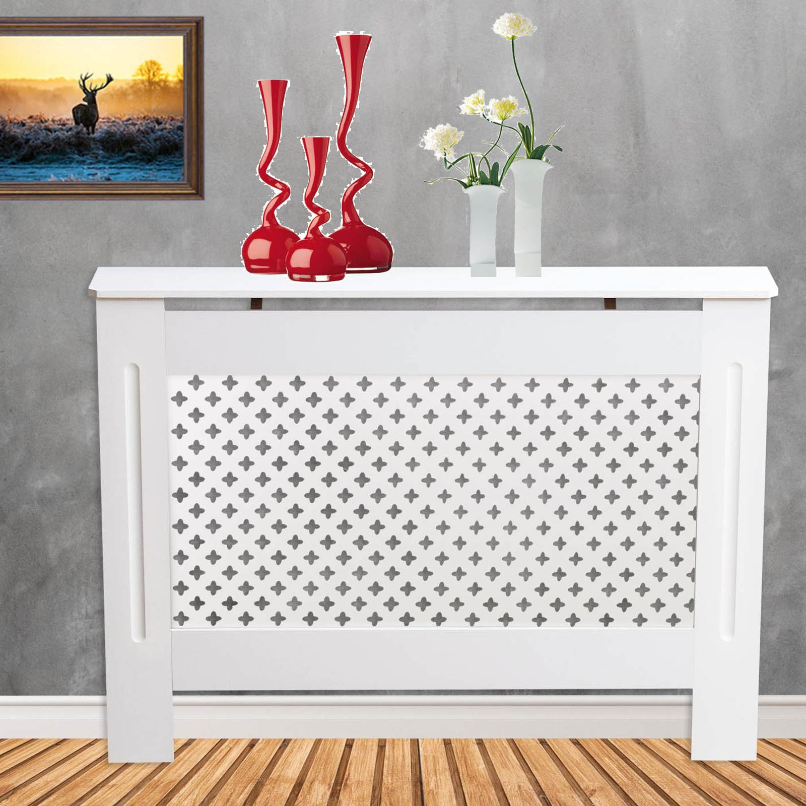 Medium Natural MDF Wood Radiator Heater Cover Case Cabinet Grill Protector Horizontal White Painted Oxford Style H 82 x W 112x D 19 Cm