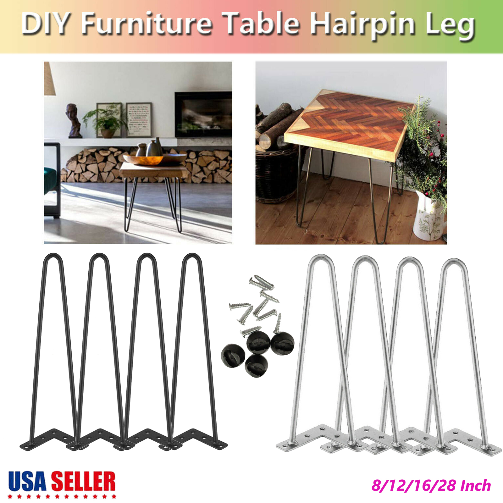 """Lot 4 Solid Table Legs Set Bar DIY 16/"""" Hairpin Legs for Dining Coffee Table Desk"""