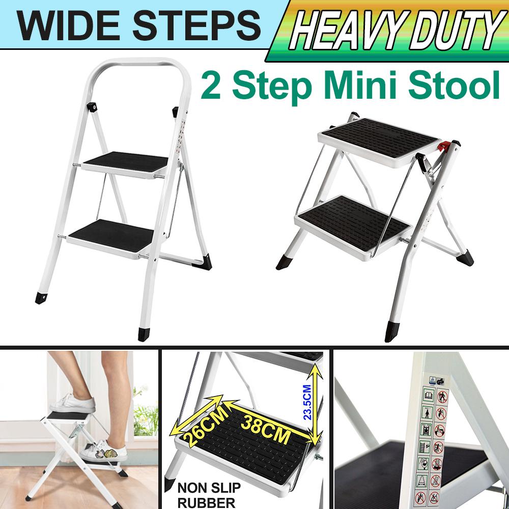 Details About 2 Wide Step Stool Folding Ladder Anti Slip Safety Tread Kitchen Uk