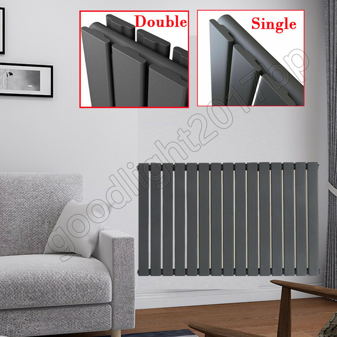 Luxury Black Anthracite Horizontal Column Heating Designer Radiator Dining Room Ebay