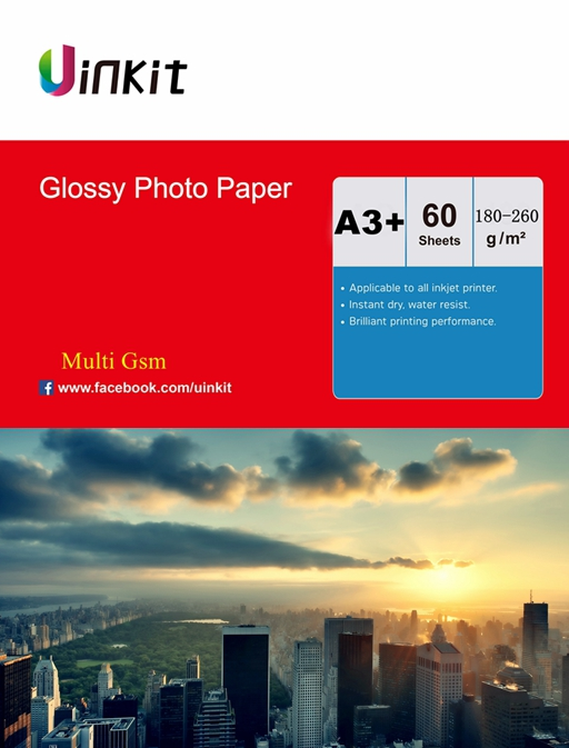 60 Sheets A3 180-260 Gsm High Glossy Photo Paper Inkjet Paper Printer Uinkit