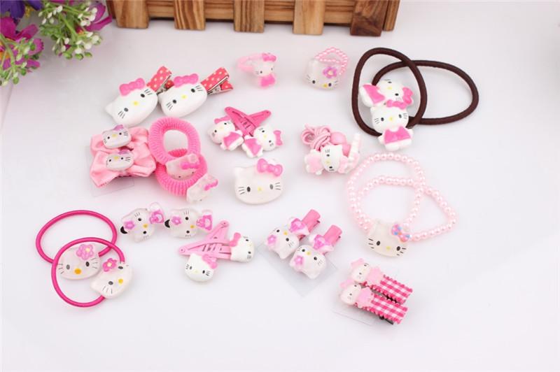 bd44ddba4 Kawaii Hello Kitty Hair Accessories Ring Earring Band Clip Brooch Lolita  Prop